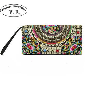 Vintage Embroidery Women Wallet Purse Handmade Ethnic Flowers Embroidered Woman Long Wallet Day Clutch Small Handbag embroidery