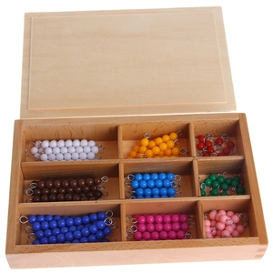 Image 4 - مونتيسوري الرياضيات المواد 1 9 الخرز بار في صندوق خشبي في وقت مبكر مرحلة ما قبل المدرسة لعبة # HC6U # انخفاض الشحن