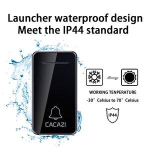 Image 4 - CACAZI Self powered bezprzewodowy dzwonek wodoodporny bez baterii US EU UK AU podłącz dzwonek dzwonek 1 2 przycisk 1 2 odbiornik
