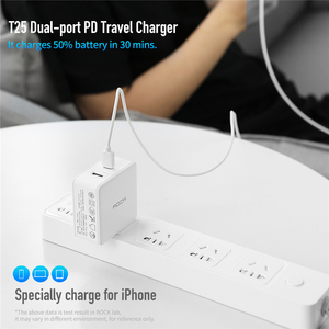 Image 2 - ROCK 45W PD Wall Fast Charge USB Charger US Plug for iPhone Dual 2.4A with Type C USB PD Fast Travel Phone Charger For Matebook