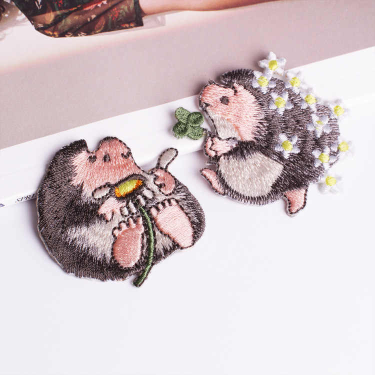 HQ Cartoon Cute Hedgehog patch Children clothing patches backpack  decoration applique small iron on patch DIY jeans glue stick