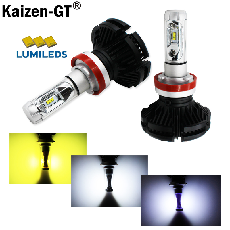 (2) High Power LED Headlight Bulbs - H11 H8 H9 H16 LED Powered By Luxeon LED with Removable Fan-less Heatsink(6000K 8000K 3000K)