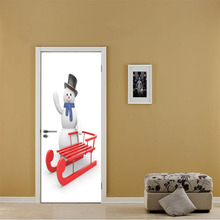 цены 77x200cm Santa Snowmen Wall Stickers  Door Stickers Christmas Kids Room Bedroom Baby Room Waterproof Stickers