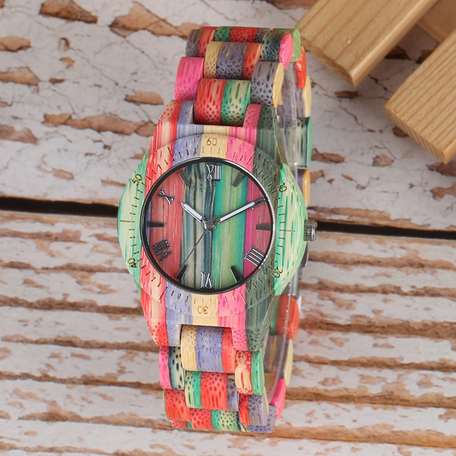 Unique Colorful Men Bamboo Watches Lovers Handmade Natural Wooden Bracelet Quartz Analog Luxury Wristwatches Ideal Gifts Items  (17) -