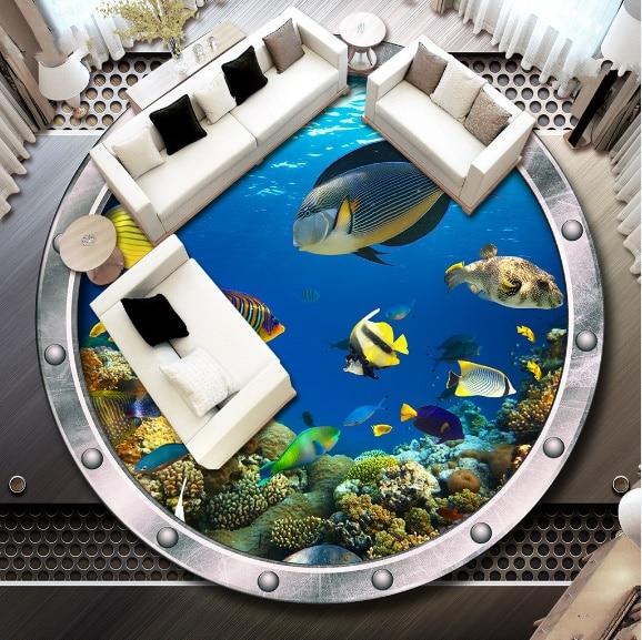 [Self Adhesive] 3D Round Window Fish 5 Non slip Waterproof Photo Self Adhesive Floor Mural Sticker WallPaper Murals Print Decal