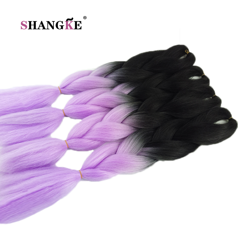 SHANG KE Synthetic Braiding Hair Two Tone Synthetic High Temperature Crochet Braiding Hair Jumbo Braid Crochet Hair Extensions