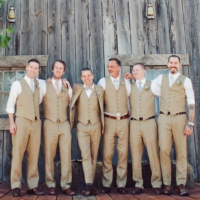 Neuesten Mantel Hose Designs Beige Braun Leinen Manner Hochzeit