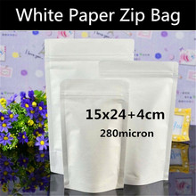 "50pcs 15x24+4cm (5.9""x9.4"") 280micron Doypack White Paper Ziplock Bag Candy/Snacks/Tea Paper Zipper Pouch Foil Inlay Bag"