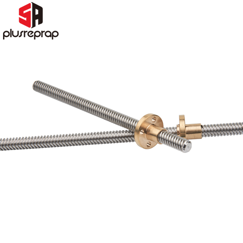 2pcs T8*8 Mm Lead Screw 500mm 8mm Lead Trapezoidal Spindle Screw Lead Screw Rod T Shape Linear Rail Bar Shaft Brass Nut