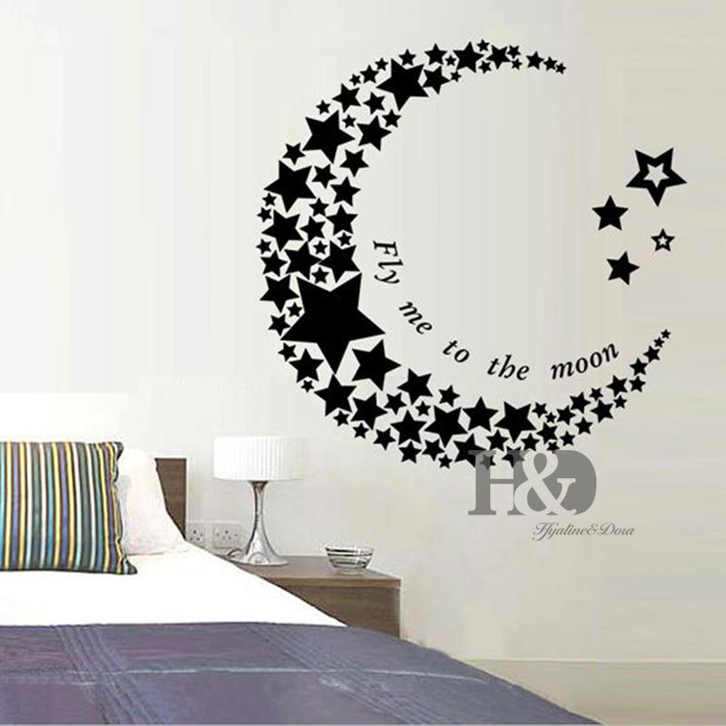 Crescent Moon Star Living Room Bedroom Sticker PVC Art Vinyl Mural ...