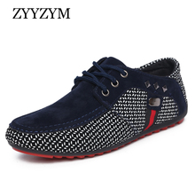 Купить с кэшбэком ZYYZYM Men Shoes Spring Summer Men Casual Shoes Lace-Up Style Light Breathable Fashion Man Loafers Shoes Men