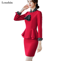 Lenshin 2 Piece Set with Scarf Formal Skirt Suit Office Lady Uniform Designs Women Business Jacket and Skirt for Work