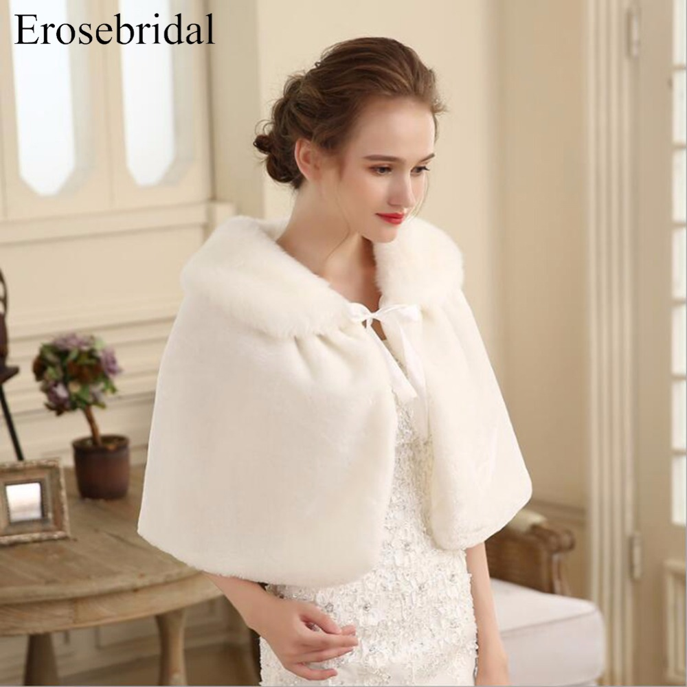 White Bridal Wraps Fur Wedding Jacket Winter Warm Bolero Short Cape Bride Wrap Shawl Wedding Accessories  ES903