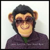 Free Shipping Party Cosplay Latex Animal Chimp Head Mask Monkey Fancy Dress Lazy Bruno Mars Song