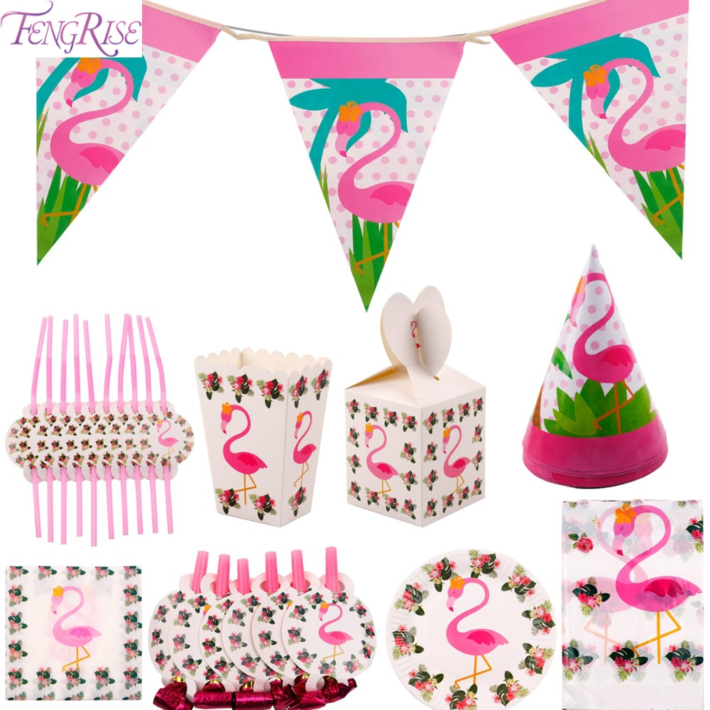 FENGRISE Flamingo Party Decoration Disposable Tableware Set Flamingo Theme Candy Box Napkin Plate Straw Cup Hat Table Decoration