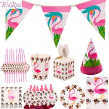 FENGRISE Flamingo Party Decoration Disposable Tableware Set Theme Candy Box Napkin Plate Straw Cup Hat Table