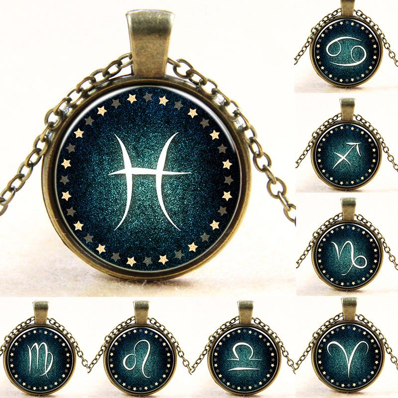 Fahsion Zodiac Pendant Necklace New Glass Cabochon Bronze Choker Statement Chain Necklace For Women Jewelry Vintage