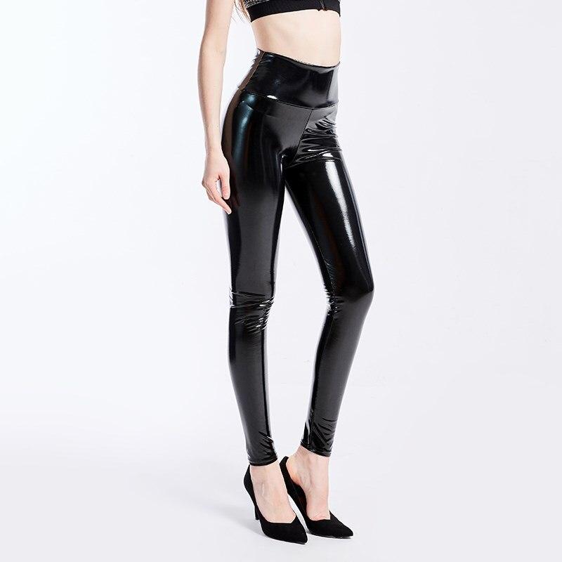 YGYEEG размера плюс женские черные леггинсы с высокой талией, Эластичные Обтягивающие Брюки из искусственной кожи, блестящие мокрые брюки с ме...