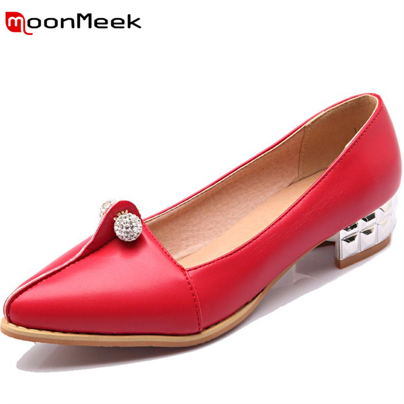Travail Moonmeek Lady rouge 47 Strass Talons Mode Office blanc Faible Noir 33 Grande Automne 2018 Solide Pompes Chaussures Printemps Femmes Taille vxzvqrBw