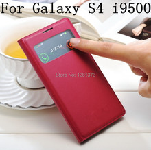 View Window Flip Cover Leather Cases Case For Samsung Galaxy S4 SIV i9500 9500 Dormancy Function Touch View Screen