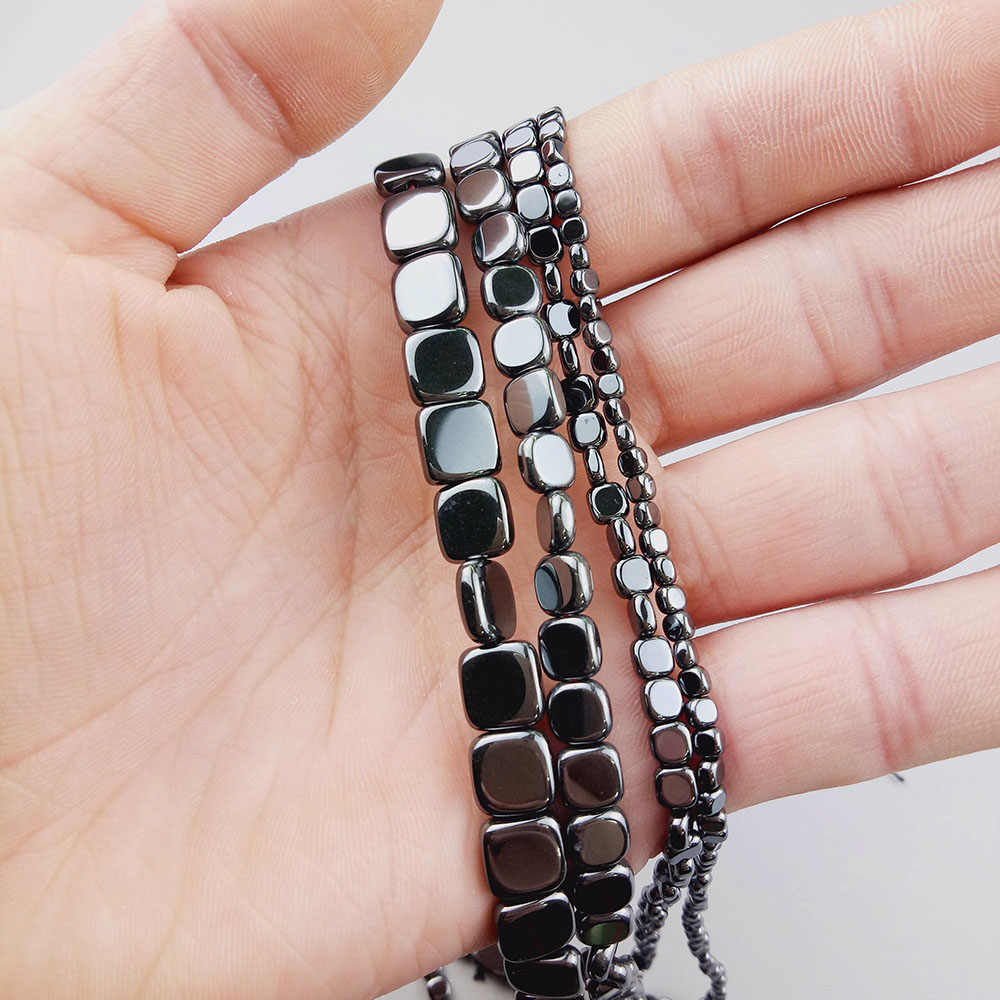 WLYeeS Platz Perlen Geometrie form Schwarz Hämatit Erz Stein Lose Spacer Perlen für Schmuck Ohrring Armband, Die DIY Großhandel