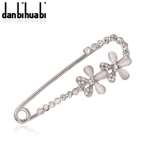 Silver Plated Safety Brooch Jewelry Fashion Rhinestone white Flower Brooches For Women Scarves Corsage Sweater Collar Hijab Pins