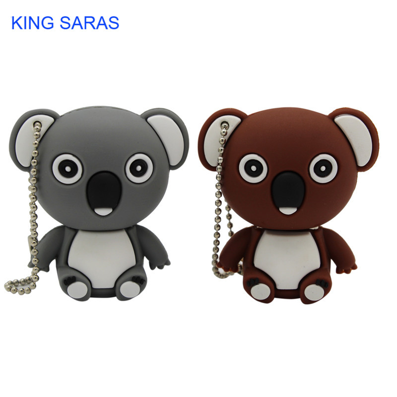 KING SARAS Cartoon Animal Koala Gary Brown Model Usb Flash Drive Usb 2.0 4GB 8GB 16GB 32GB 64GB Creative Pendrive