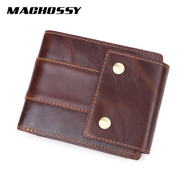 MISFITS Brand Wallets For Men Genuine Leather Short Purse With Coins Pocket Rivets Wallet With ID Card Holders Male Hasp Purses