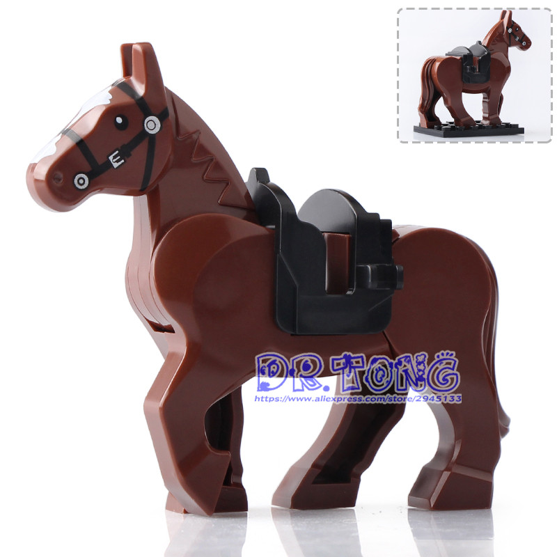 DR TONG 20pcs/lot Xh685 Brown Horse Hobbit Lord of Ring Medieval Castle Soldiers Horse Building Blocks Toys Children Gifts dr tong 80pcs lot new toy story sy661 buzz light year woody emperor zurg squeezy aliens building blocks bricks toys child gifts