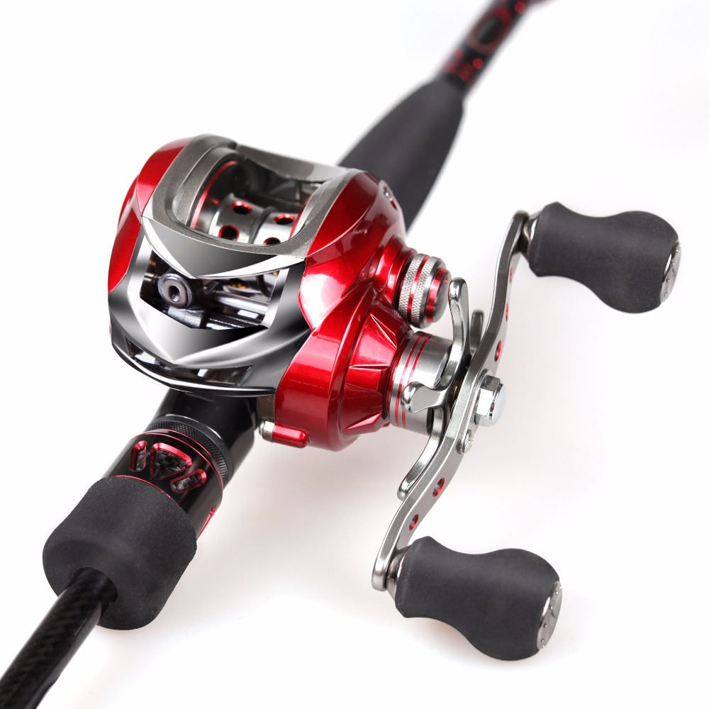 Fishing Rod Combo 2.1m 46T Carbon Rod Baitcasting Fishing Rod 2 Sections Fishing Rod Set Red Bait Casting Reel Lure Pesca Tackle rover drum saltwater fishing reel pesca 6 2 1 9 1bb baitcasting saltwater sea fishing reels bait casting surfcasting drum reel
