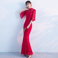 Red Lace Cheongsam Long Qipao Dresses Chinese Traditional Wedding Dress China Clothing Store Vestido Oriental Plus Size XXXL