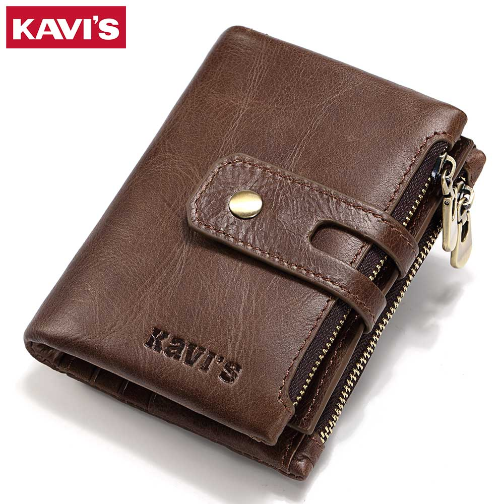 KAVIS Brand Genuine Leather Wallet Men Coin Purse Small Male Cuzdan Walet Portomonee PORTFOLIO Clamp Money Bag Card Holder Perse kavis brand crazy horse genuine leather wallet men wallets coin purse with card holder mini male with bag portomonee small walet