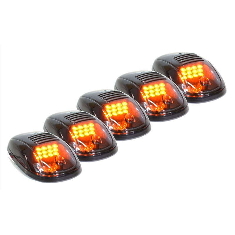 5pcs/set Car Auto Smoked Amber Cab Roof Top Running LED Light for Truck SUV Pickup 4x4 Car External Lights Decorative Lamp cyan soil bay 5pcs oval top led cab roof lights running marker smoke lens for dodge ford truck