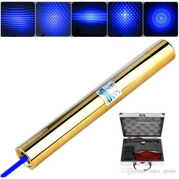 High Power Gold Plated 450nm 100000m Blue Laser Pointer Pen Most Powerful Blue Laser Pen Light Cigarette Burn Wood With 5 Caps