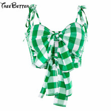 цены на Plaid Green Hollow Out Smocked Bow Knot Front Crop Tops Women 2019 Summer Camis Blouse Cute Casual Tops Tee  в интернет-магазинах