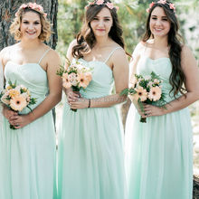 Mint Green Spaghetti Straps A line Chiffon Bridesmaid Dresses 2017 vestido de madrinha Elegant Ruched Sweetheart Formal Gowns