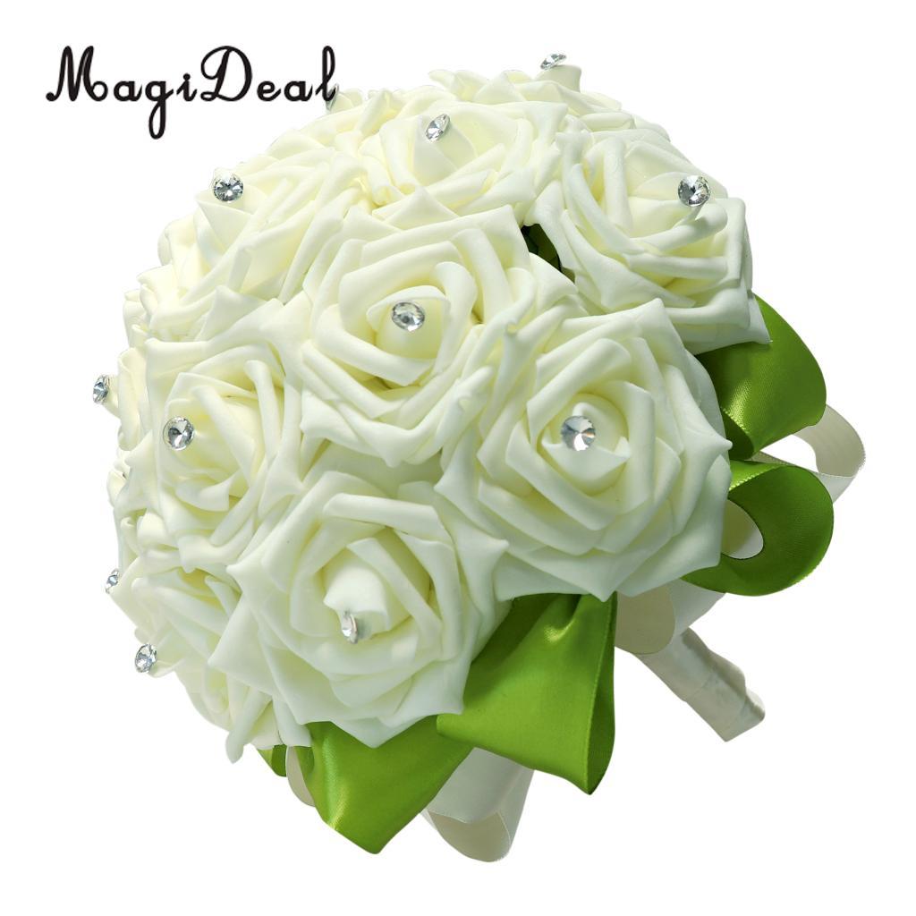 Milk White Foam Roses Flower Wedding Bride Bridesmaid Bouquet Satin