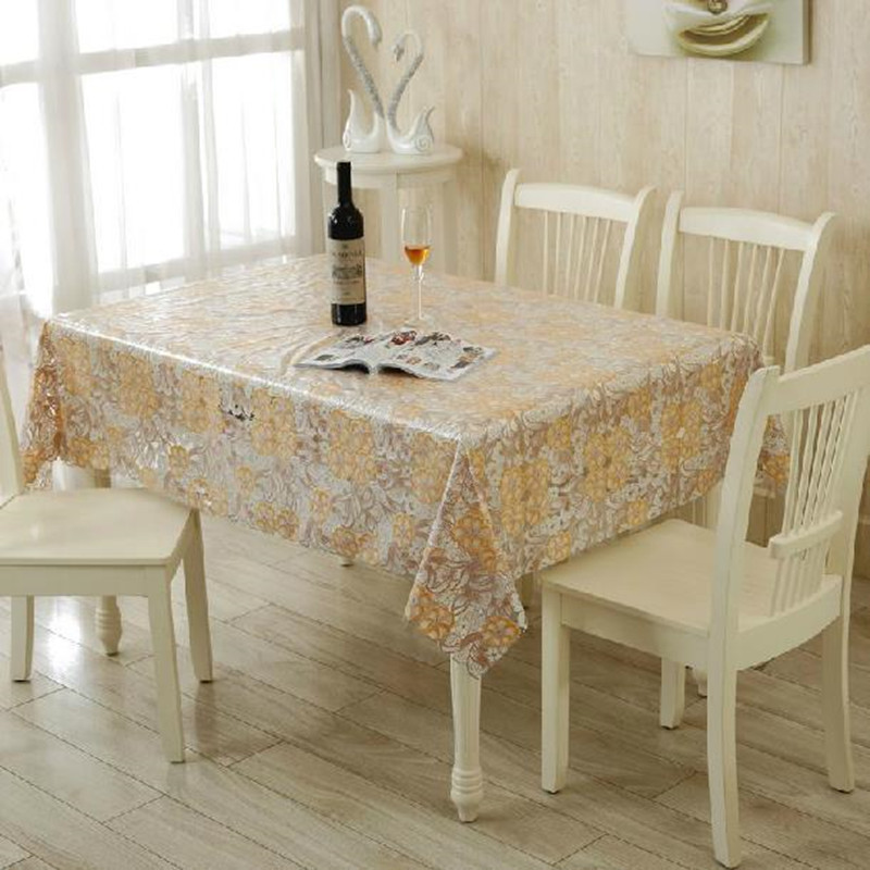 High Quality European Style Waterproof PVC Table Cloth Hollow Out Poral Print Transparent  Decor Tablecloth Home Wedding Dinner Table