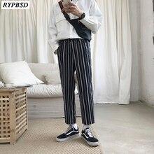 2019 Mens Stripe Pants Cotton Casual Korean Fashion Trend Elastic Harem Hip Hop Trousers Plus Size M-2XL