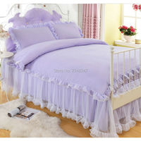 Sweet Princess Style Solid Purple Lace Drape 4Pc Twin/Full/Queen/King Size Bed Quilt/Duvet/Doona Cover Set Bedskirt 2XPillowcase