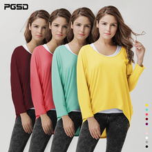 PGSD Fashion Simple Pure color Irregular  knitting T-shirt women Large Sizes round neck long Bats sleeves several colors female simple long sleeves round neck solid color t shirt for women