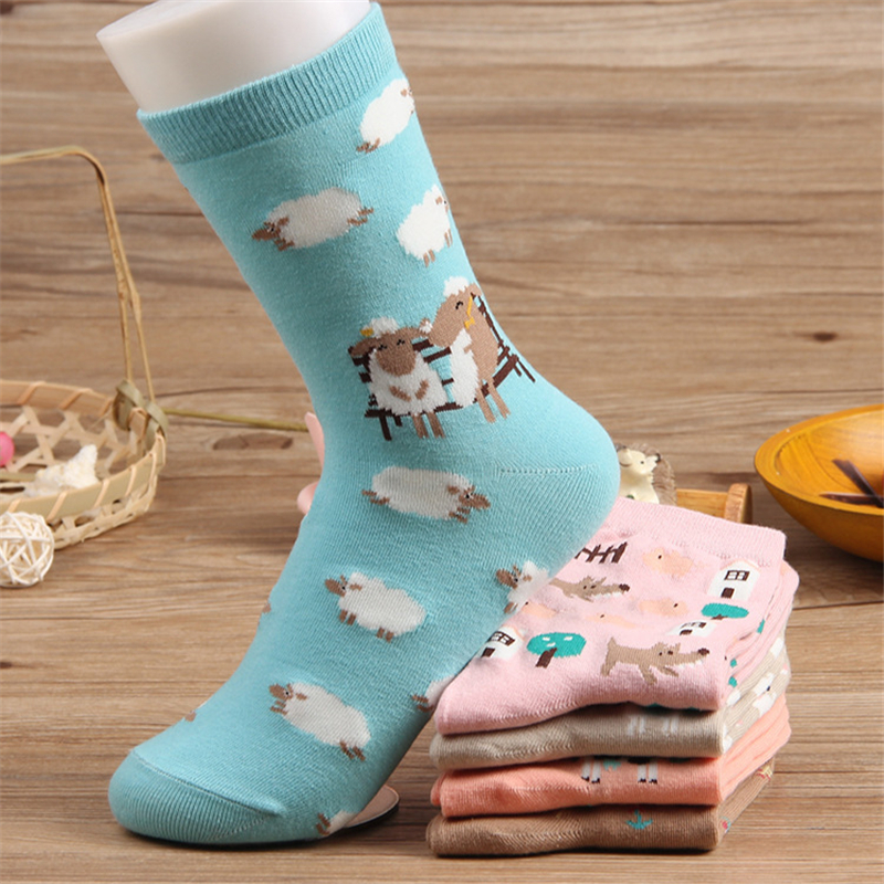 New Spring Cotton   Socks   for Women Harajuku Kawaii Girls Funny   Socks   Cartoon Sheep Casual Cute   Socks   Female Sokken Mujer Meias