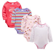 4pcs 100% Cotton Baby Bodysuits Solid Jumpsuit Cartoon Long Sleeve Outfit Newborn Girls Boys Clothes