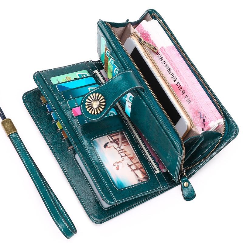 Femmes Portefeuilles Vintage Bouton Téléphone Sacs À Main Femme Sac À Main En Cuir Marque Rétro Dames Longue Fermeture Éclair Bourse Femme Portefeuille Carte D'embrayage Sac