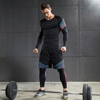 Men S 3 Pieces Running Set Leggings Long Sleeves Compression T Shirts Gym Shorts Jogging Tight