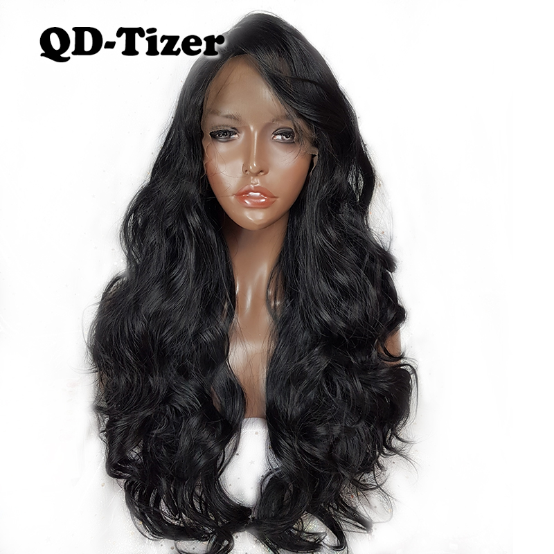 QD-Tizer Hair Body Wave Black Color Lace Front Wigs Natural with Bangs Long body Wavy Synthetic Lace Front Wig for Beauty Women