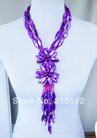 Graceful!Purple Shell Flowers Necklace Romantic Wedding Bridal Jewelry, Birthday Necklace, Wholesale Free Shipping SP017