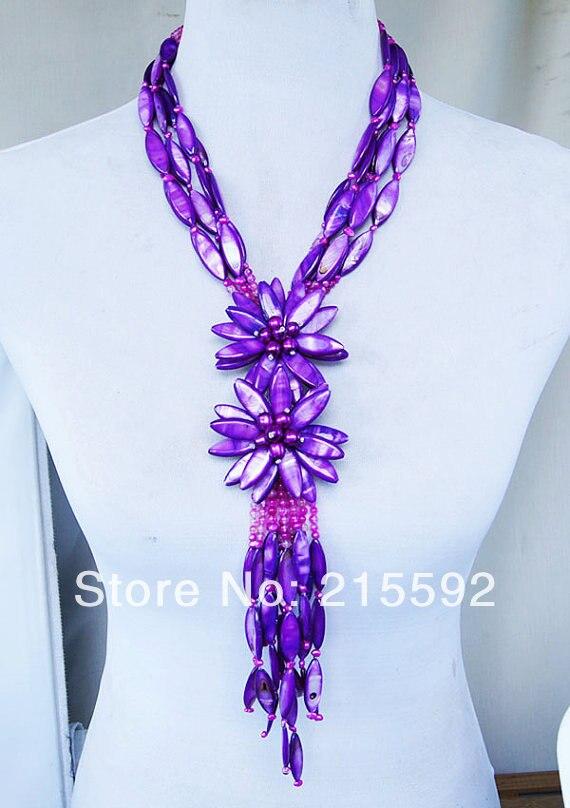 Gracieux! collier de fleurs en coquillage violet bijoux de mariée de mariage romantique, collier d'anniversaire, livraison gratuite en gros SP017