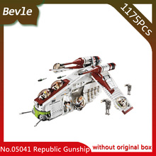 Bevle Store LEPIN 05041 1175Pcs star space Series The The Republic Gunship Building Blocks Set Bricks For Children Toys 75021