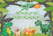 Laeacco Cartoon Forest Dinosaur Baby Birthday Party Photographic Background Scene Photography Backdrops For Photo Studio